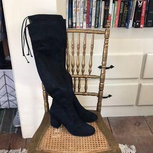 Unisa OTK black suede boots